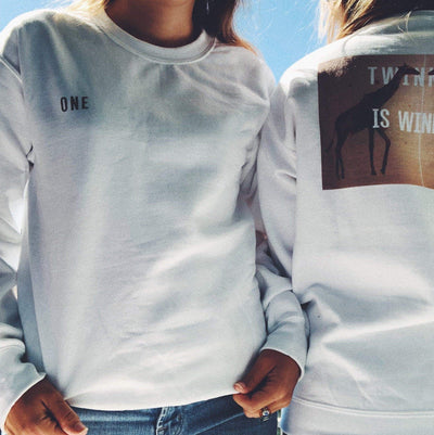 One/Twinning is Winning Sweatshirt (White(