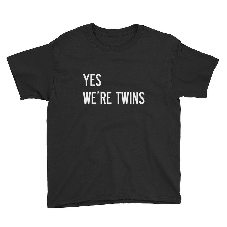 YES WE'RE TWINS BOYS T-SHIRT (BLACK) - Fashion for twins TWINNING STORE