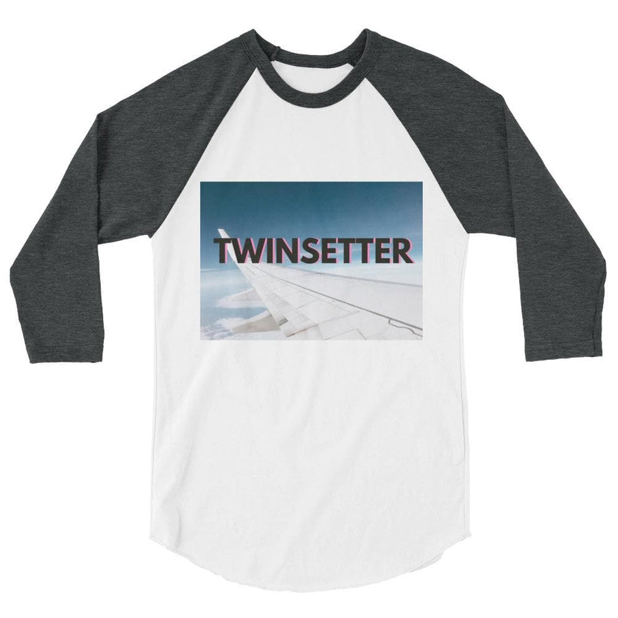 Twinsetter 3/4 Sleeve Shirt (White/Grey) - Fashion for twins TWINNING STORE