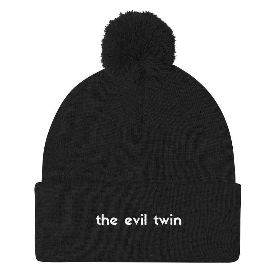The Evil Twin Pom Pom Beanie Hat (Black) - Fashion for twins TWINNING STORE