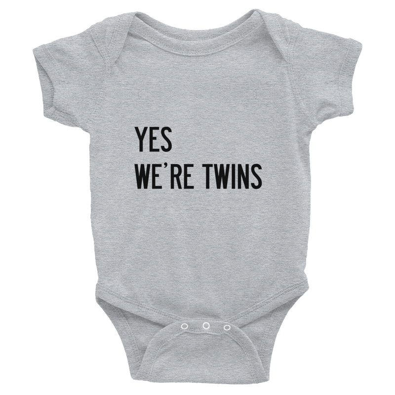 Yes We're Twins Baby Onesie (Grey)
