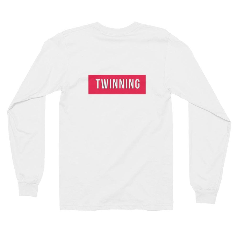 TWINNING BACK PRINT LONG-SLEEVE SHIRT (WHITE) - Fashion for twins TWINNING STORE