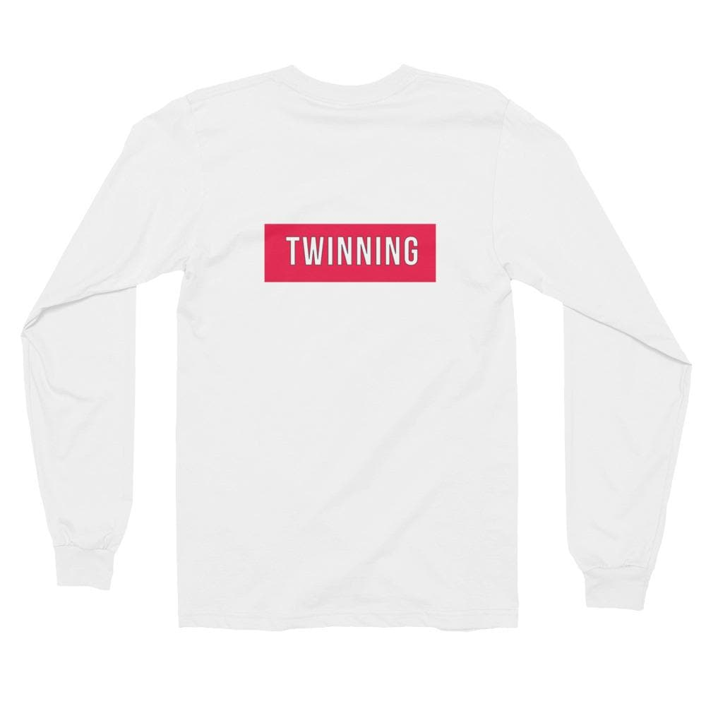 Twinning Back Print Long-sleeve Shirt (White)