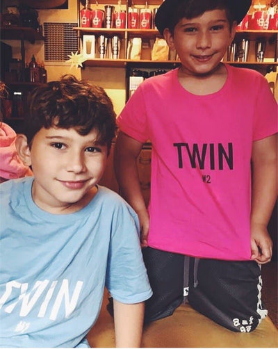 Twin #2 Print Boys T-shirt (Light Blue)