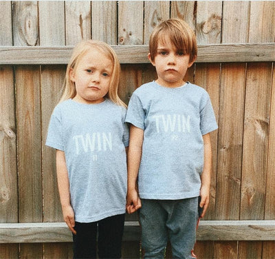 Twin #2 Print Toddler T-shirt (Light Blue) - Fashion for twins TWINNING STORE