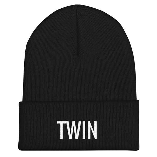 twin beanie in black and white embroidery