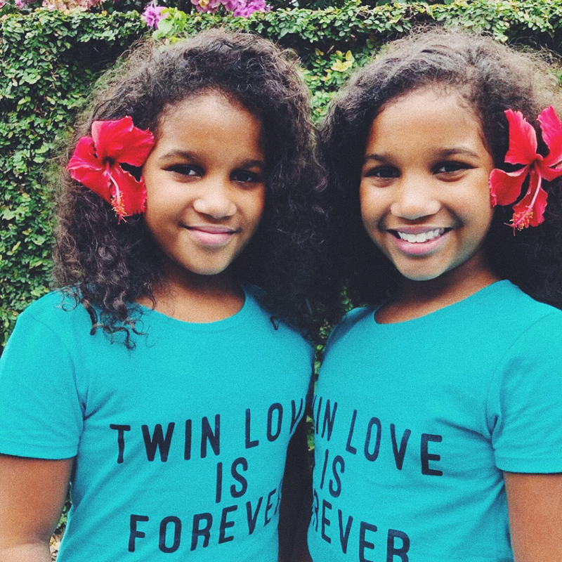 Twin Love Is Forever Girl T-shirt (Blue)