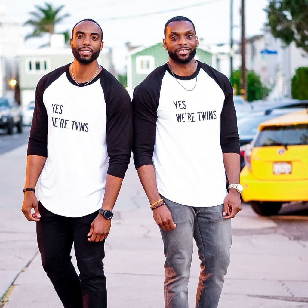 Yes We're Twins Unisex ¾ Sleeve Shirt (White/Black)