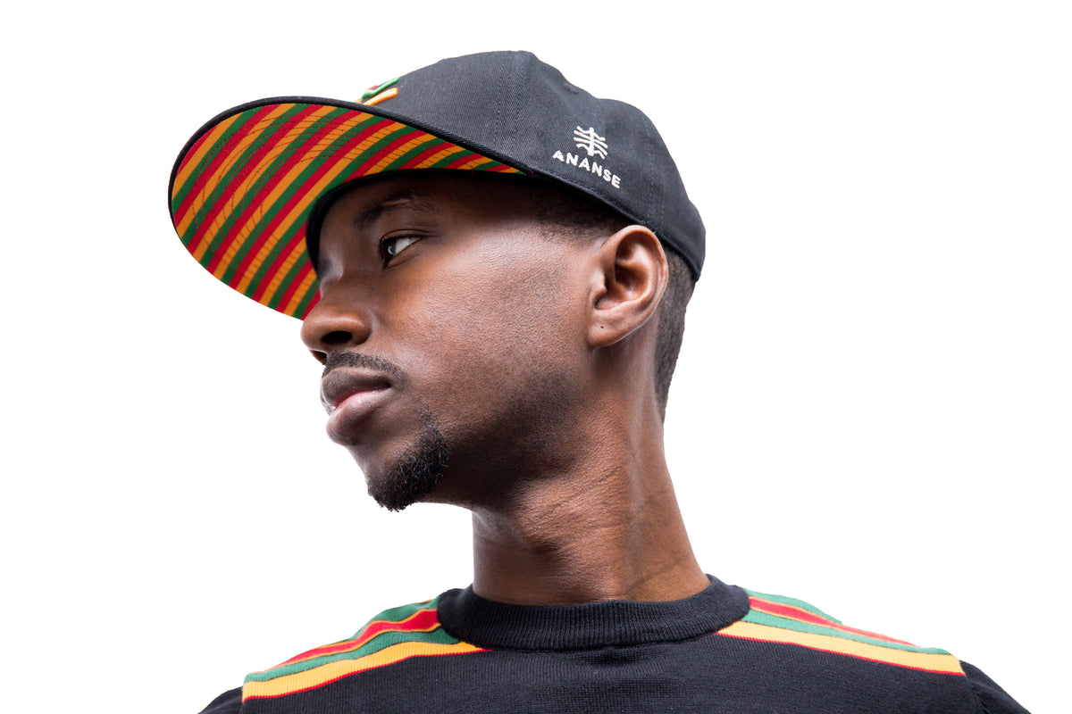 Ananse Color Snapback - featuring the Red Gold Green colors of African liberation.