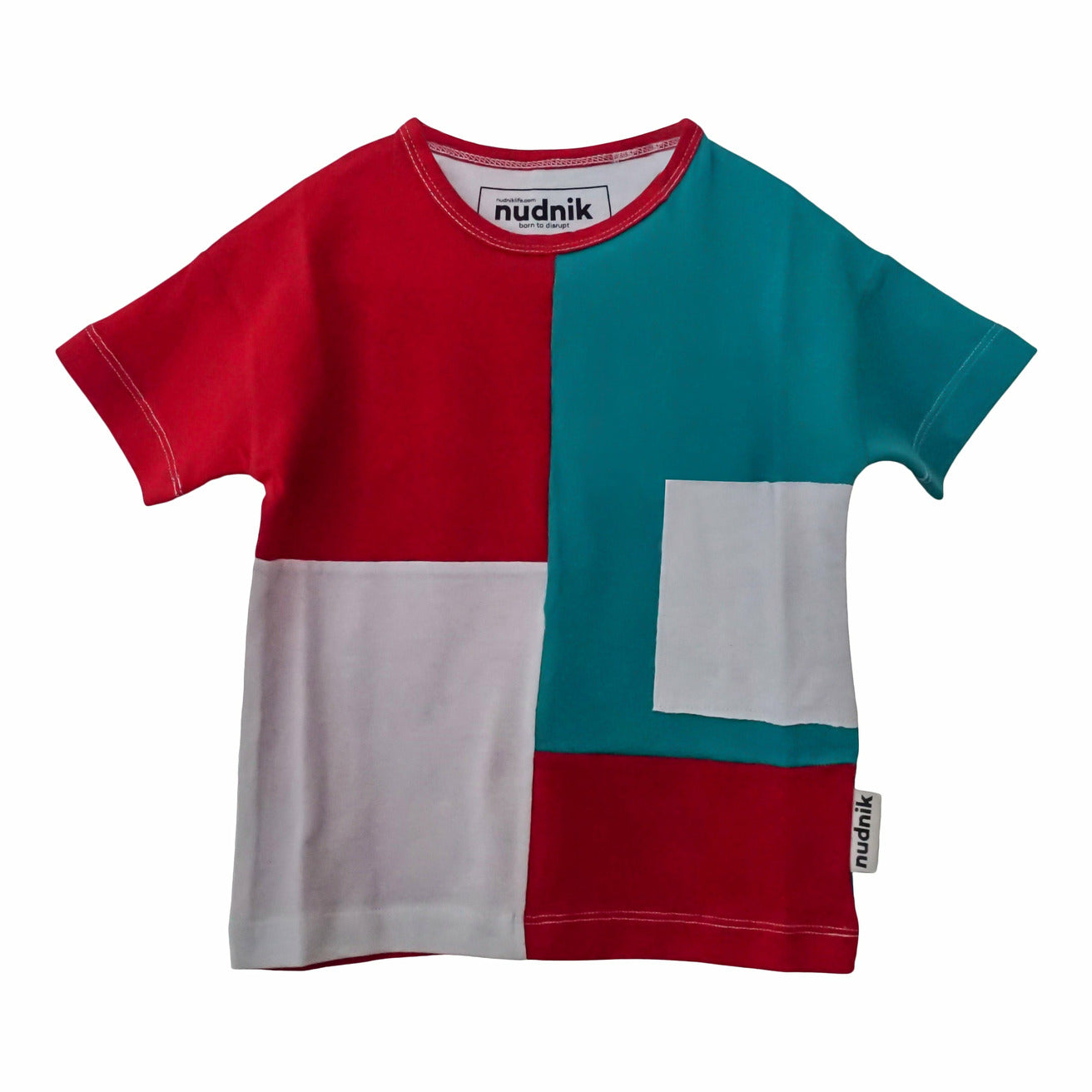 DISRUPTOR TEE in Roaring Red + Treat Teal - NUDNIK