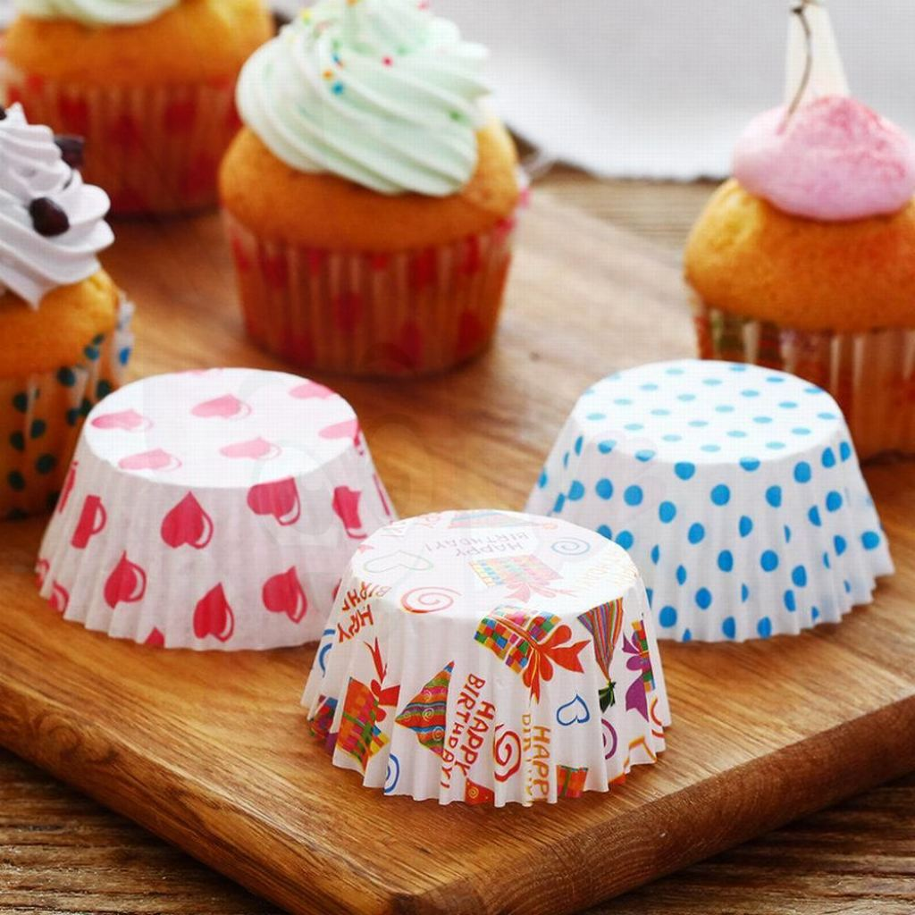 100 Pcs Colorful Rainbow Paper Cupcake Liner