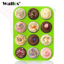 12 Or 24 Cup Silicone Cupcake Baking Pan Walfos 12 Cup Green