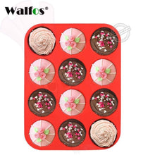 12 Or 24 Cup Silicone Cupcake Baking Pan Walfos Cup Red