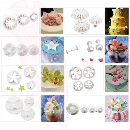 33Pcs Diy Plunger Fondant Cutter Cake Biscute Cooking Molds For Sugarcraft Decorating Tools Flower Set