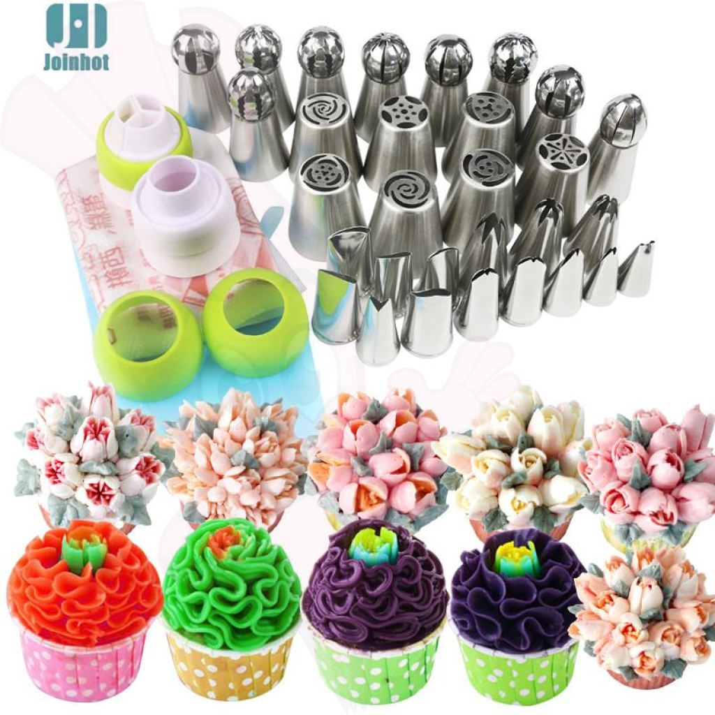 43 Pcs Set Russian + Ball Nozzles Pastry Bags 3 Color Coupler