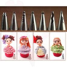 7 Piece Set Piping Nozzle Frills Tip Bonus Icing Bag Cake Decorating