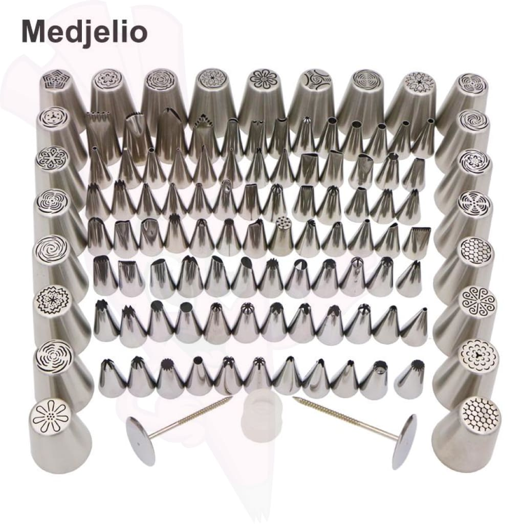 New 110 Piece Set Piping Nozzle Tips For Flowers Leaves & Grass Cake Decorating