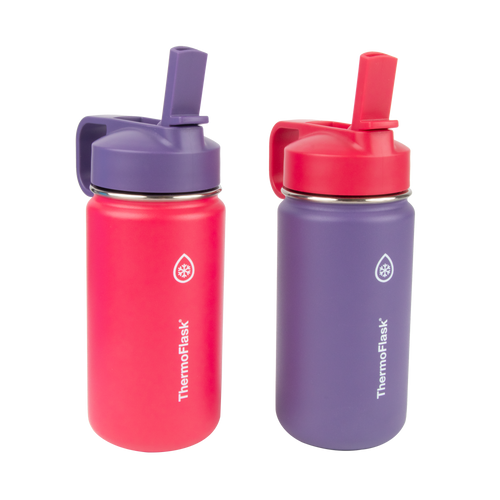 ThermoFlask® Kids Bottles with Straw Lid Two Pack, 14 oz