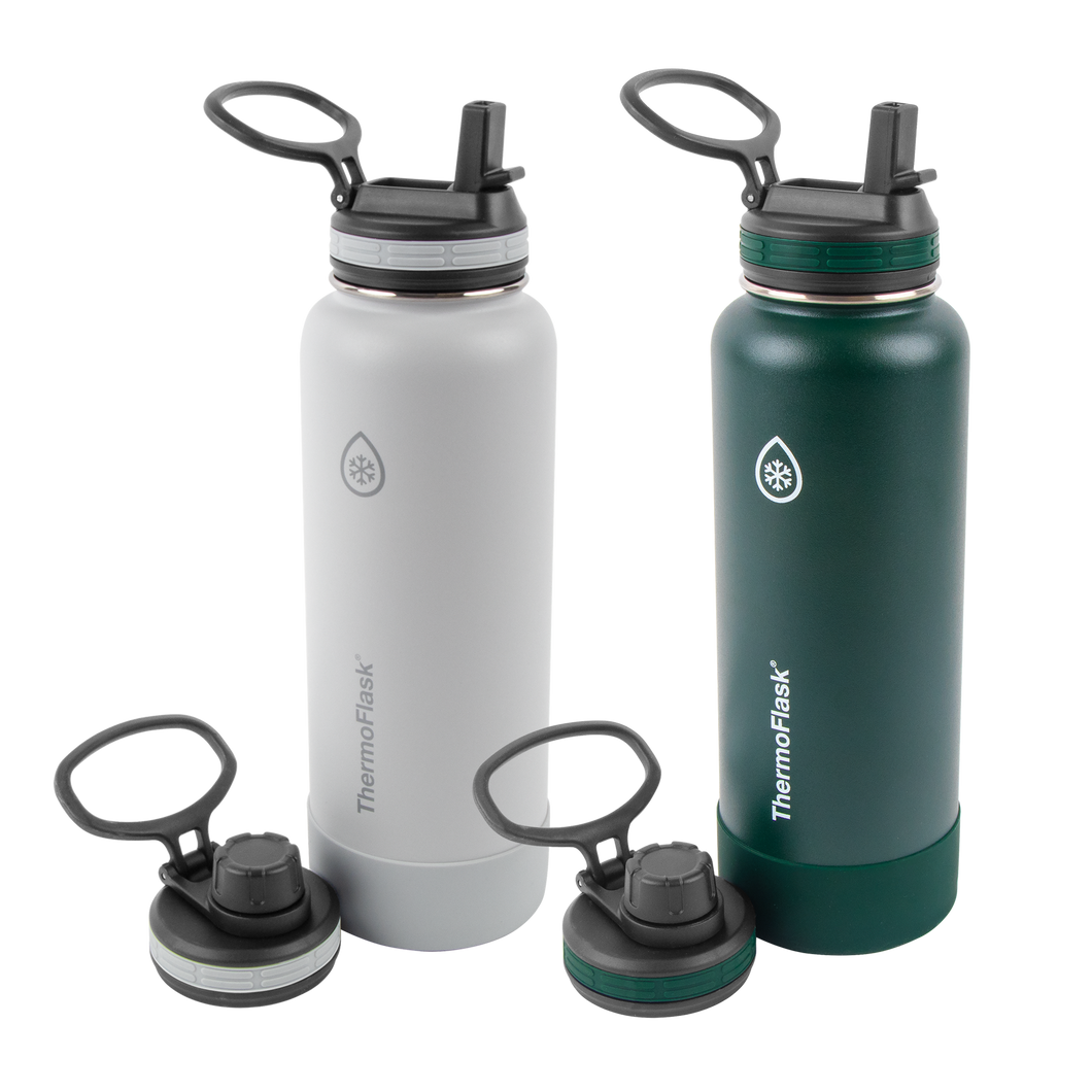 ThermoFlask® Bottles with 4 Lid Combo 2pk, 40 oz