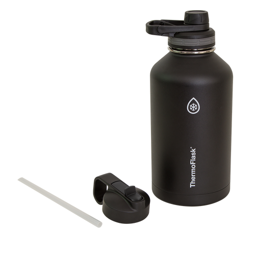 ThermoFlask® Bottle with Chug Lid and Straw Lid, Black, 64 oz
