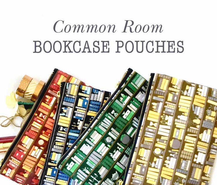 Common Room Bookcase Patter Pouches Wizard School Nerd Girl Gift