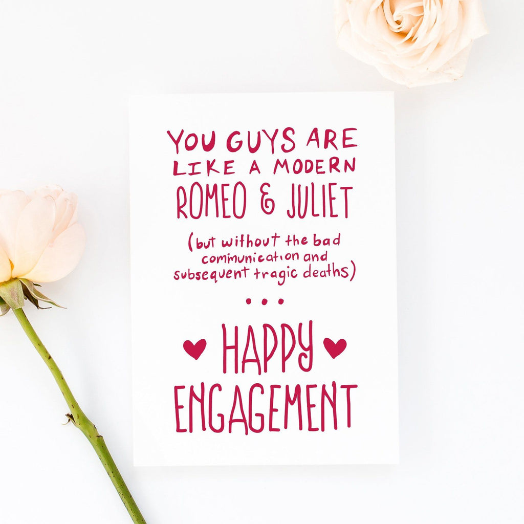 Funny Engagement Card - Romeo and Juliet - Kit Cronk Studio