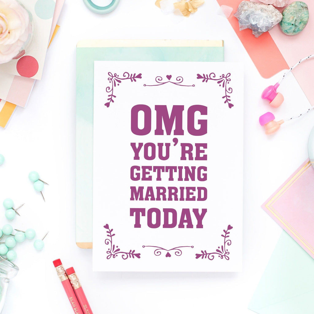 Wedding Day Card - OMG You're Getting Married Today - Purple