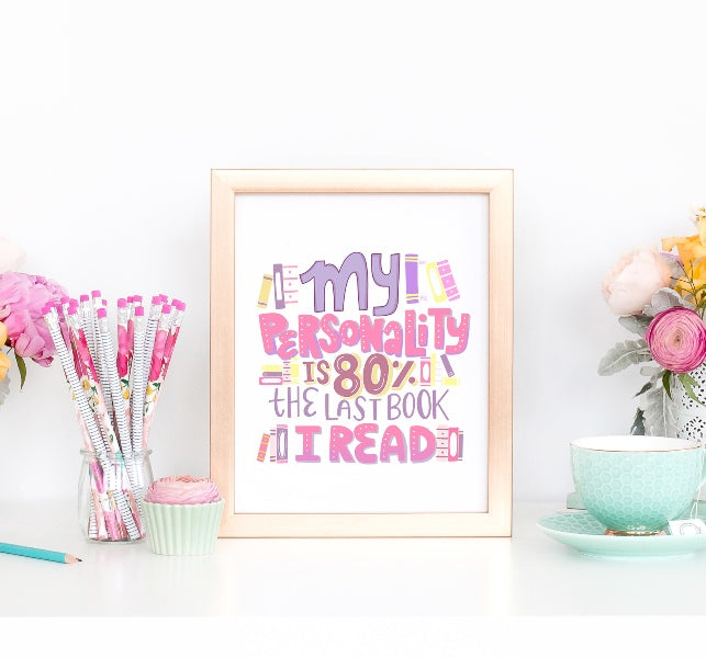 Print art for readers reading books and nerdy book reader girl australia