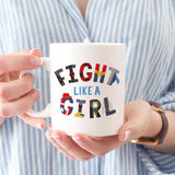 super hero women fight like a girl mug