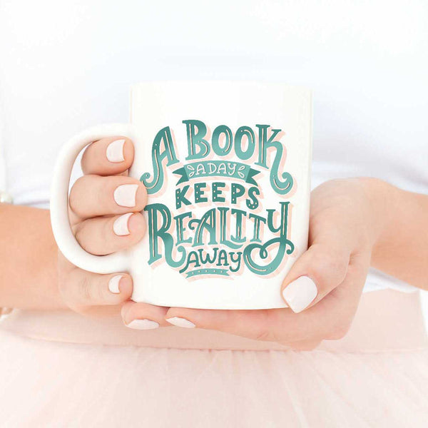 book lover mug book a day reality away