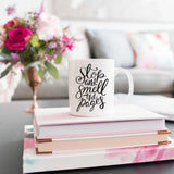 Stop and smell the pages book lover mug