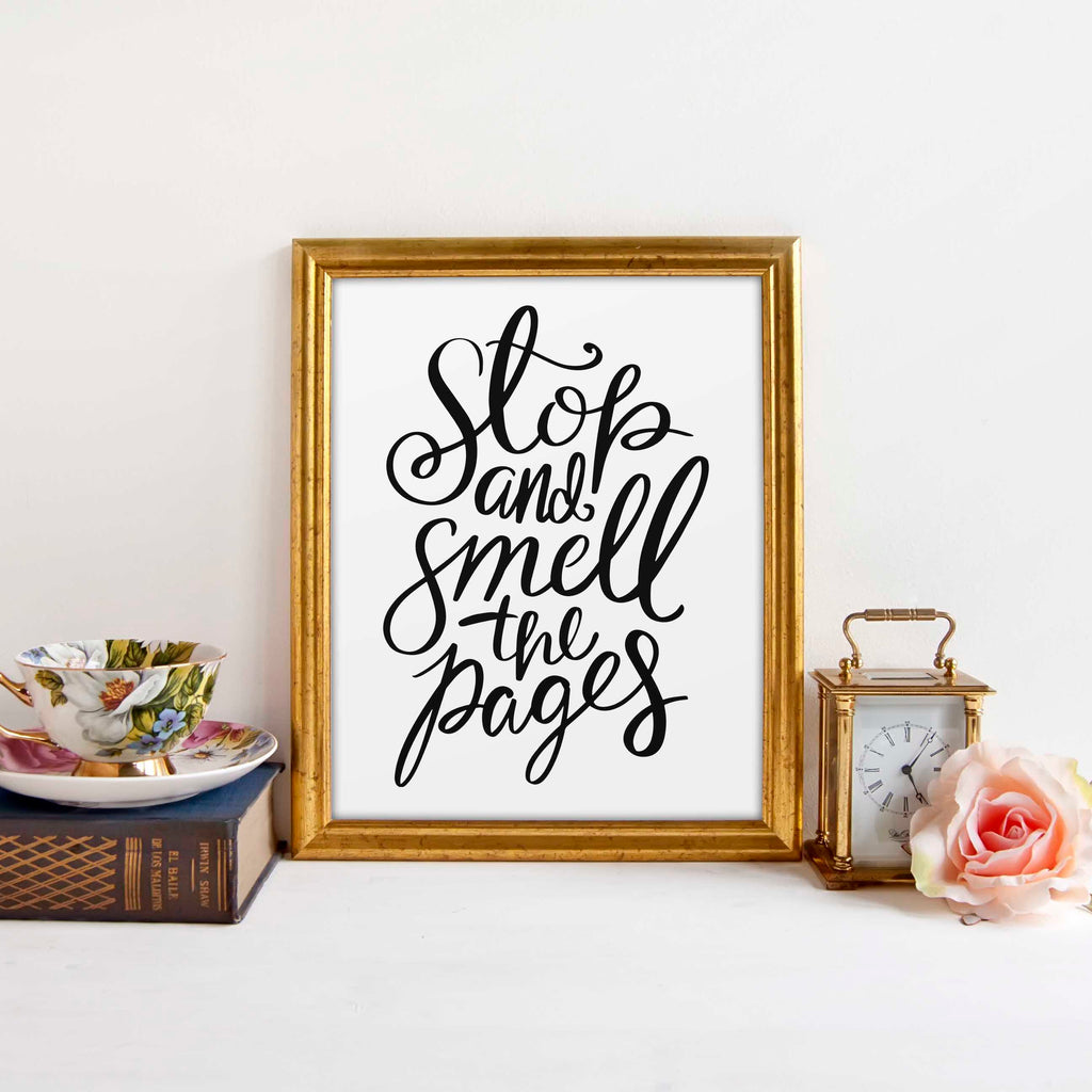 Smell the pages book lover print gift