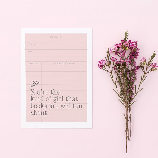 Bookish Girl Book Nerd Valentine Card