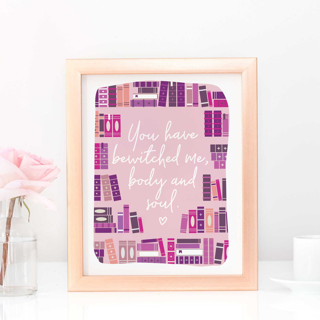 jane austen mr darcy quote art print book gift