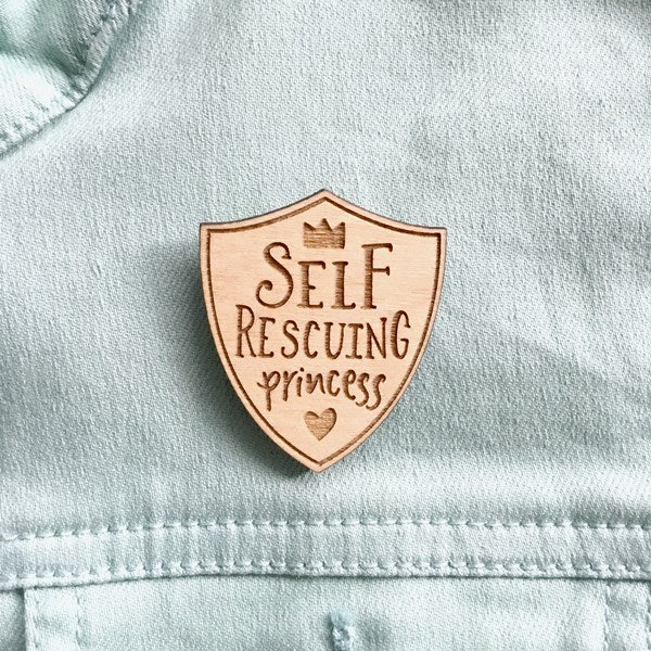 Self Rescuing Princess Feminist Lapel Pin