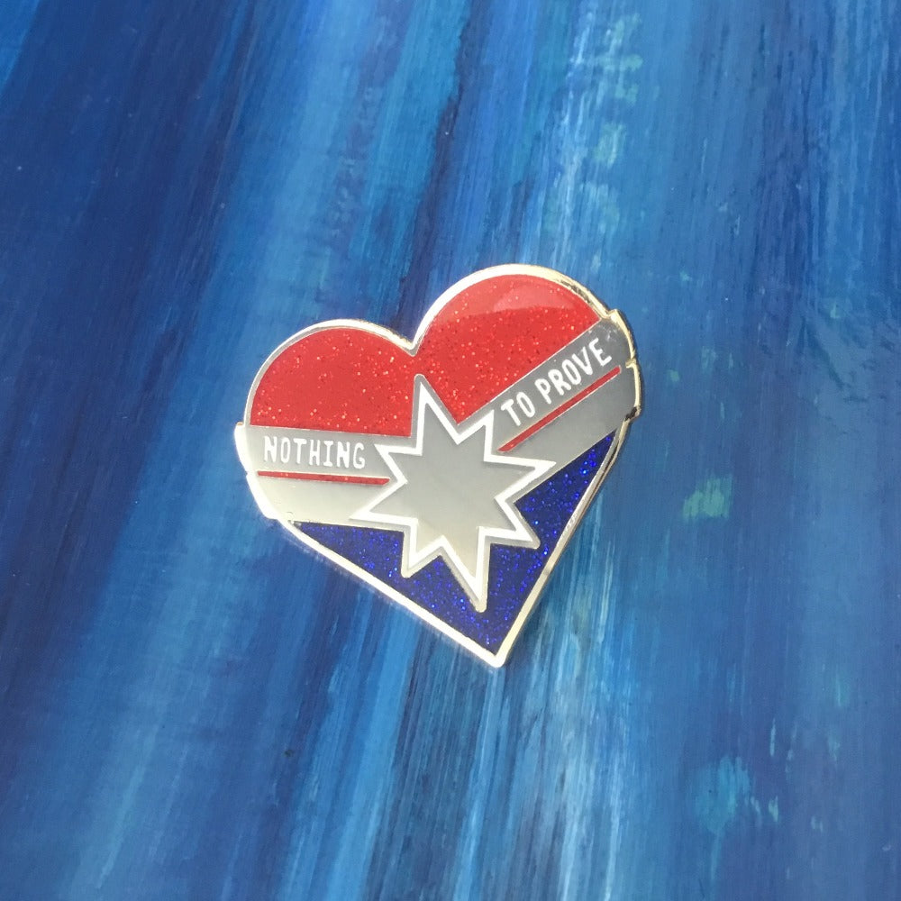 captain marvel heart enamel pin