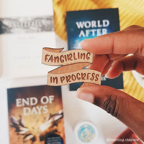 Fangirling in Progress Nerd Girl Brooch Pin Teen Book Gift