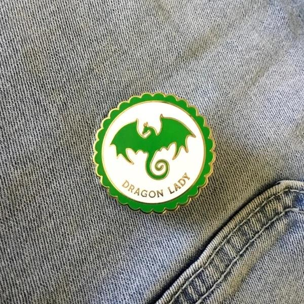 Dragon Lady Enamel Pin Book Gift