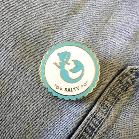 Retro Mermaid Salty Enamel Pin