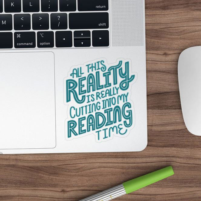 Reality Vs. Reading Blue Transparent Sticker