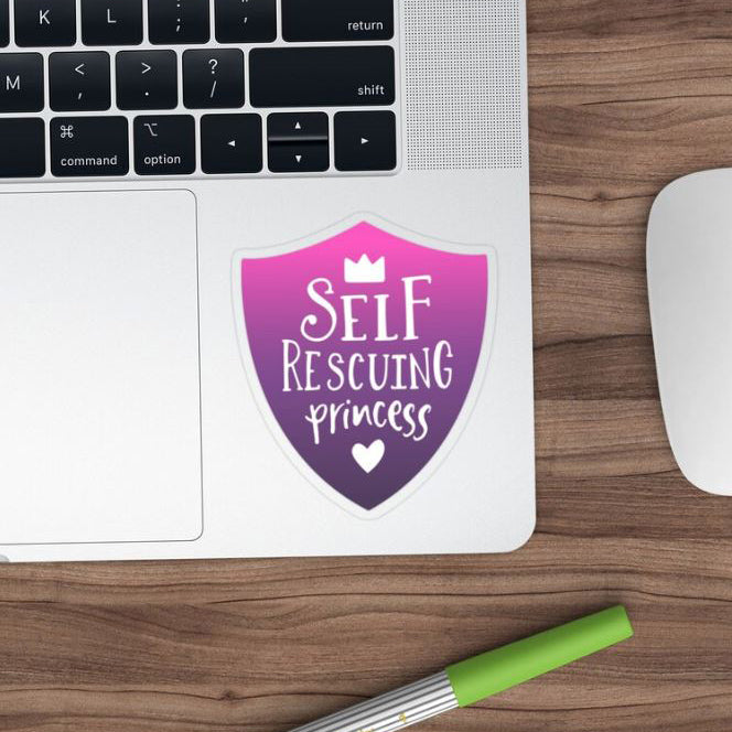Self Rescuing Princess Purple Transparent Sticker