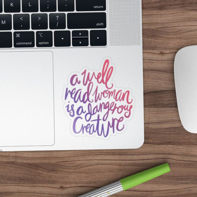 well read woman quote sticker