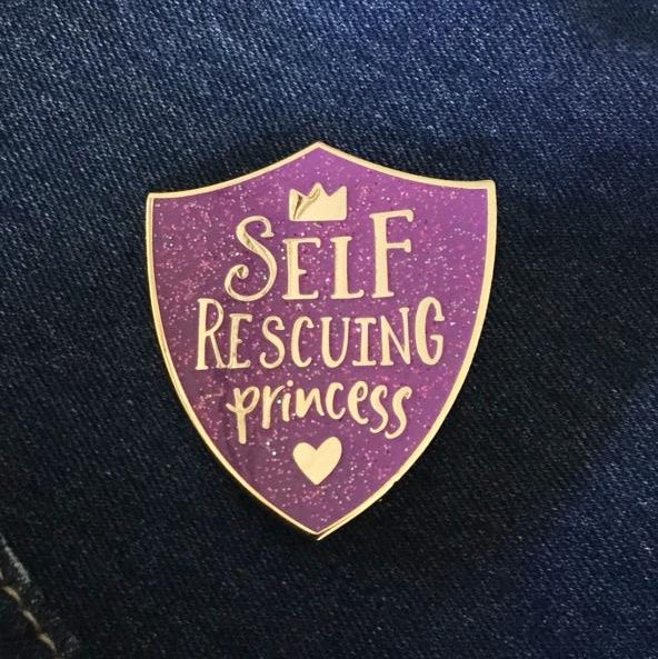 Self Rescuing Princess Feminist Book Nerd Pin