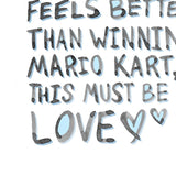 Nerd Valentine Card - Must Be Love Mario Kart