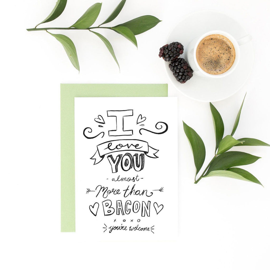 Funny Valentine Card - Love You Bacon