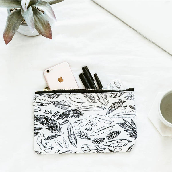 Pencil Case - Simple Feathers - Make Up Bag, Cosmetics Bag, Travel Accessories, Mothers Day Gift, Bridesmaid Gift