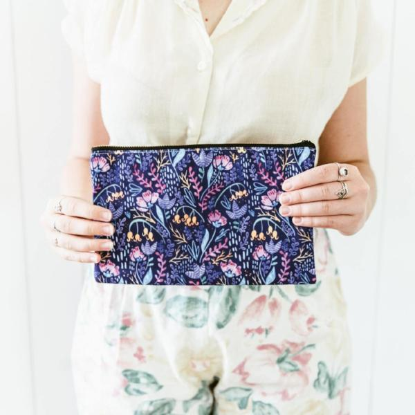 Pencil Case - Wonderland Flowers Purple - Make Up Bag, Cosmetics Bag, Travel Accessories, Mothers Day Gift, Bridesmaid Gift