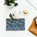 Dark Blue Garden Floral Zip Pouch Pencil Case