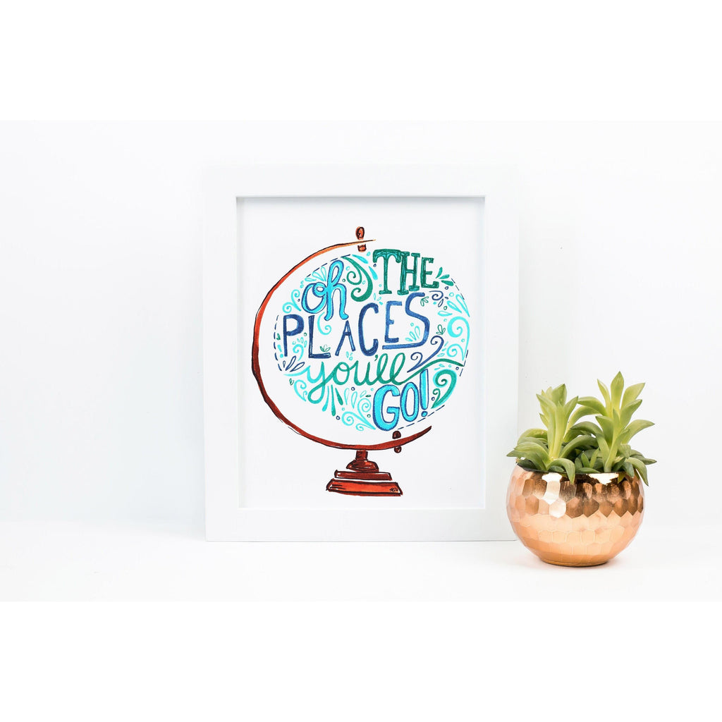 Nursery Art Print - Oh The Places You'll Go - Blue Green, Baby Shower Gift, Baby Boy Gift, Unisex Baby, Baby Room Decor, Graduation Gift