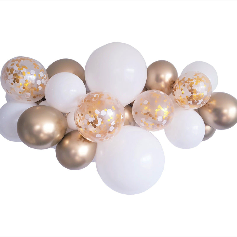 Balloon Garland Kit White ,Gold Chrome & Confetti balloons - Balloonies Studio